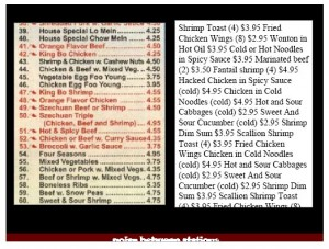 two presentations of Chinese restaurant menu items, one with original formatting